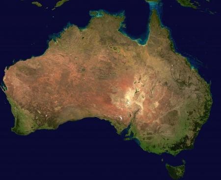 australia continent aerial view