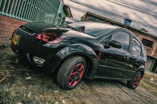 auto black red