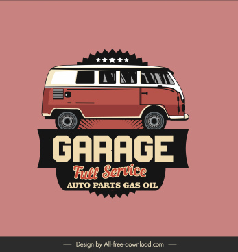 auto garage sign template flat classic bus sketch