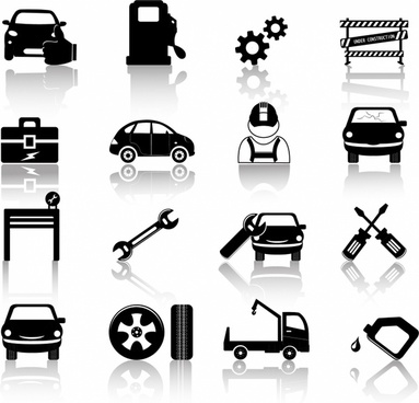 Auto mechanic icons