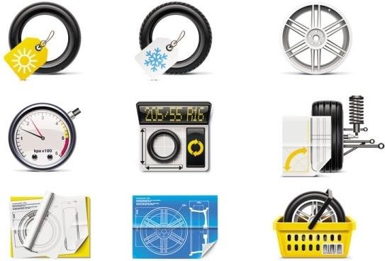 auto parts icon 03 vector