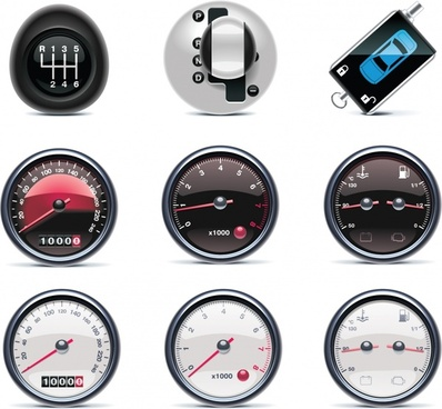 car parts icons speedometer gear shifts shiny modern