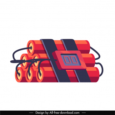 automatic explosive icon colored 3d firecrackers sketch
