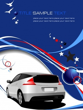 car advertising banner modern 3d colorful curves stars