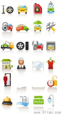 services icons collection car repair hotel themes
