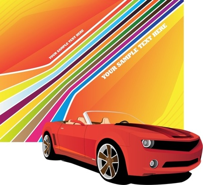 car advertising banner 3d colorful sketch