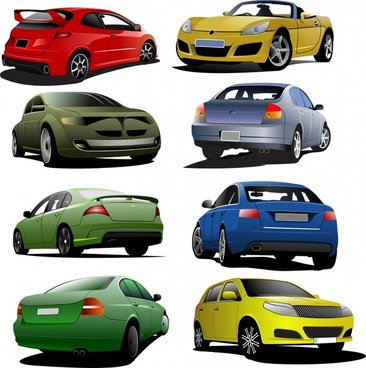 automotive icons colored modern 3d design
