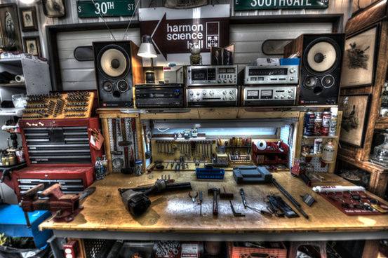 automotive work area with my 1977 stereo accuphase
