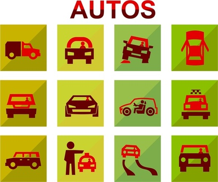 autos icons sketches design in flat style