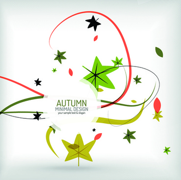 autumn abstract plant and leaves vector background