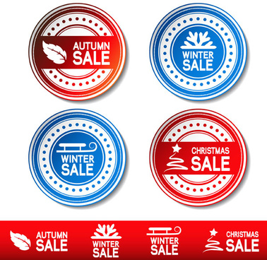 autumn and winter offer labels stickers vector