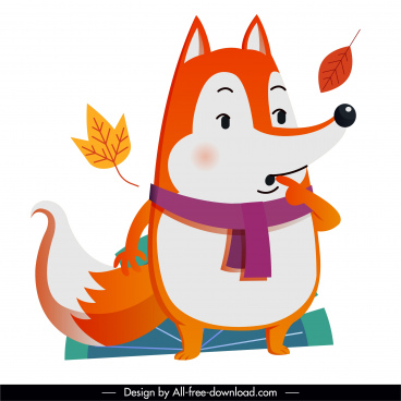 autumn animal icon cute fox falling leaves sketch