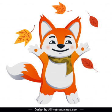 autumn animal icon joyful fox leaves sketch