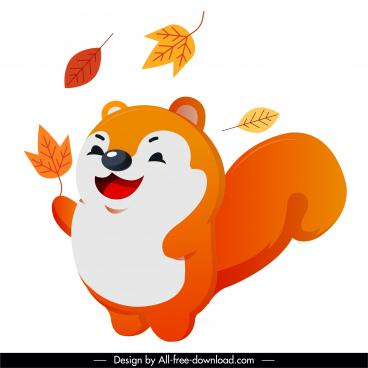 autumn animal icon joyful squirrel leaves sketch
