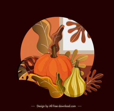 autumn background colorful classic pumpkin leaves decor