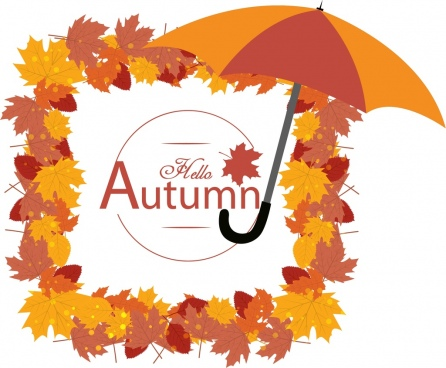 autumn background colorful dried leaves frames umbrella ornament