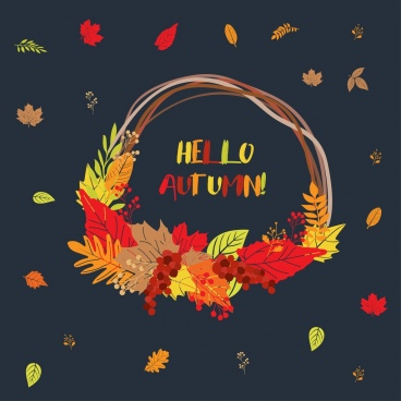 autumn background colorful leaves bag icon onament