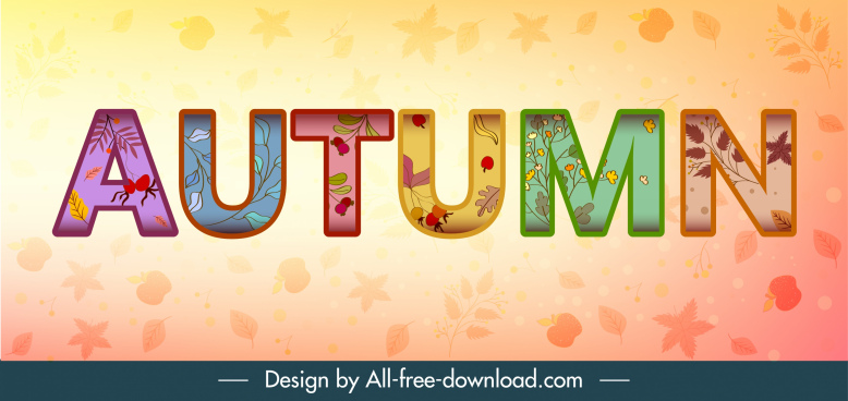 autumn background colorful texts nature elements decor