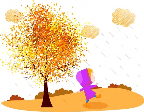 autumn background colorful tree playful kid cartoon design