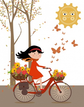 autumn background cute girl riding bicycle colored cartoon
