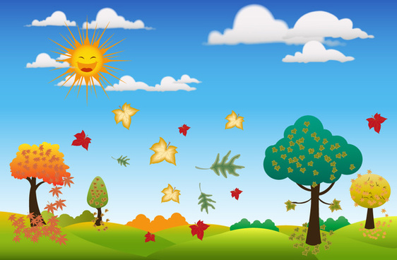 autumn background design with sun and leaves