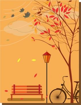autumn background falling leaves in park orange backdrop