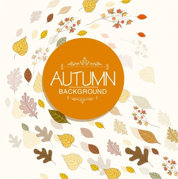 autumn background flying leaf icons ornament
