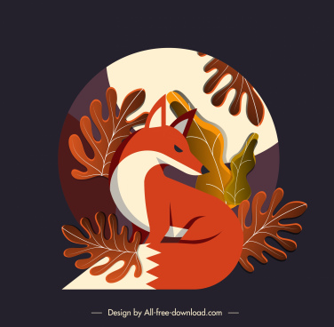 autumn background fox leaves decor colorful classic design