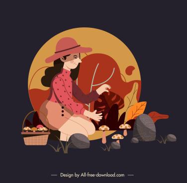 autumn background girl mushroom sketch cartoon design
