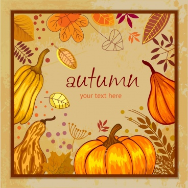 autumn background pumpkin leaves icons decoration retro design