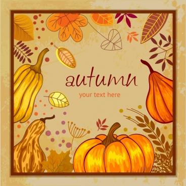 autumn background pumpkin leaves icons decoration retro design