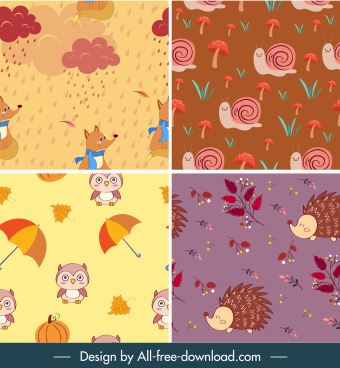 autumn background templates wild nature elements decor