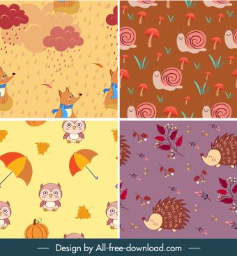 autumn background templates wild nature elements decor