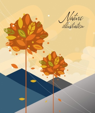 autumn background trees falling leaves breeze icons