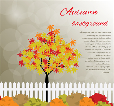 autumn background vector design with beautiful style