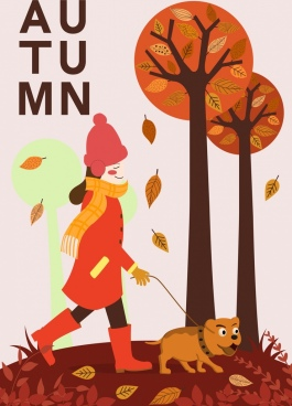 autumn background walking woman pet trees cartoon design
