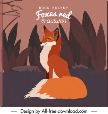 autumn background wild fox sketch retro design