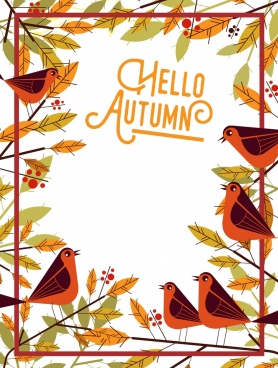 autumn banner birds leaf border decoration