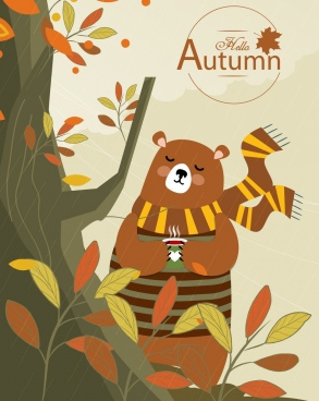 autumn banner cute stylized bear icon cartoon character