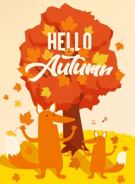 autumn banner orange design fox tree icons