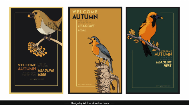 autumn banner templates dark retro handdrawn birds decor