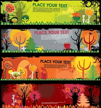 autumn banner templates dark colorful grunge flat sketch