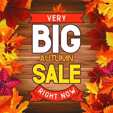 autumn big sale design elements vector