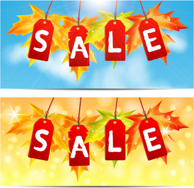 autumn big sale design elements vector
