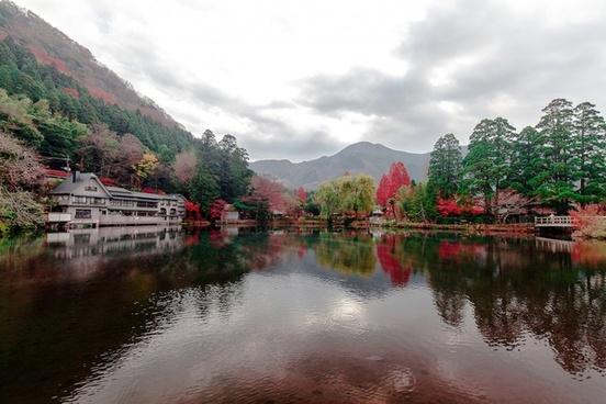 autumn bridge calm fall forest japanese lake
