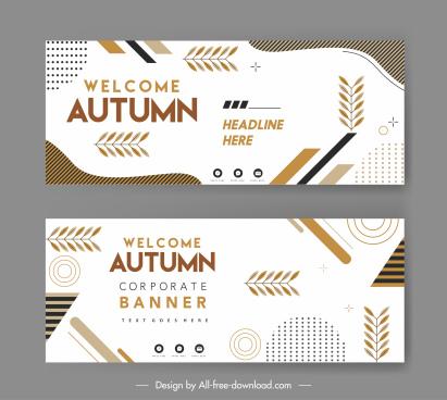 autumn card templates bright flat leaves geometry decor
