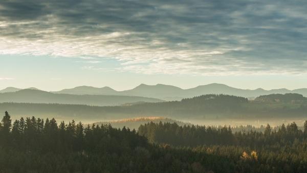 autumn cloud dawn evening fall fog forest landscape