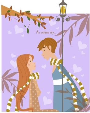 autumn couple painting hearts decor cartoon design