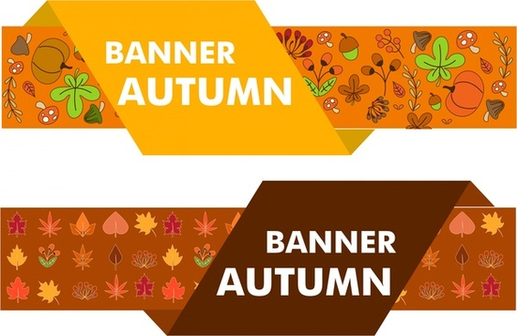 autumn decoration banners sets floral fruits design style