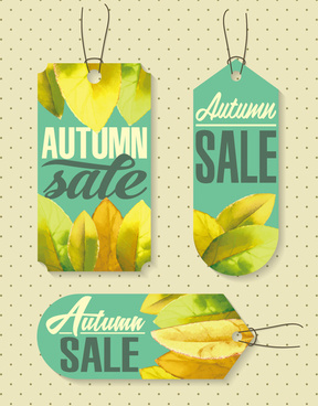 autumn decoration promotional tag vector